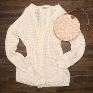 Pink Rose White Cardigan Sweater